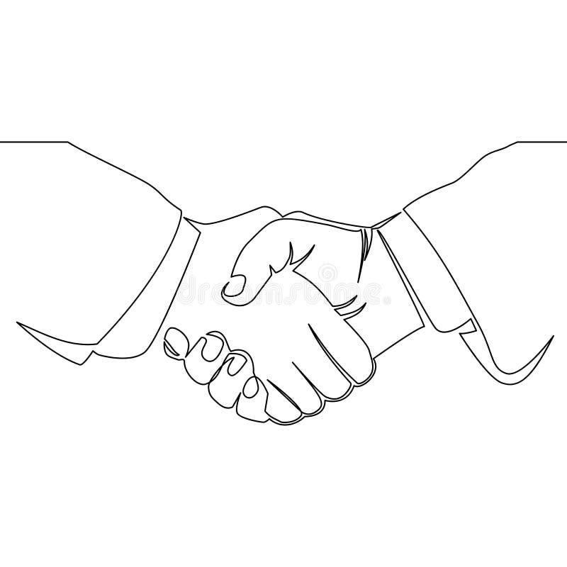 Fortlöpande linje teckning av handskakningen stock illustrationer