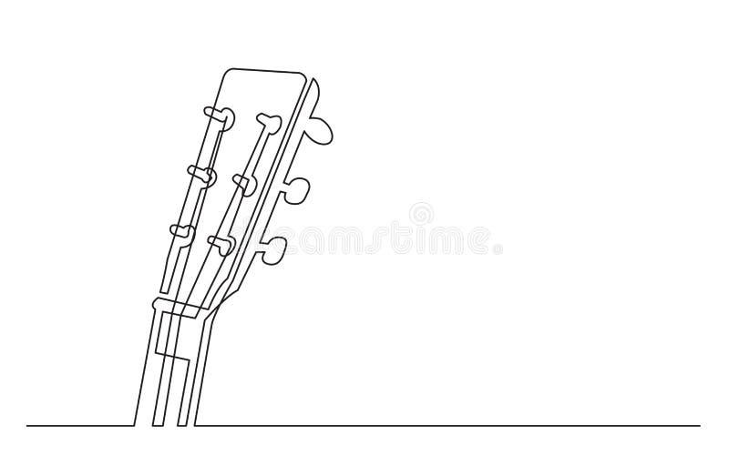 Fortlöpande linje teckning av headsock för akustisk gitarr stock illustrationer