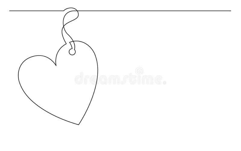 Fortlöpande linje teckning av hjärtateckenetiketten vektor illustrationer