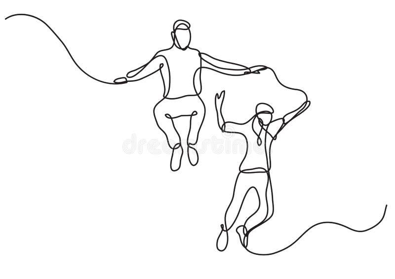 Fortlöpande linje teckning av hoppa för två lyckligt tonåringar royaltyfri illustrationer