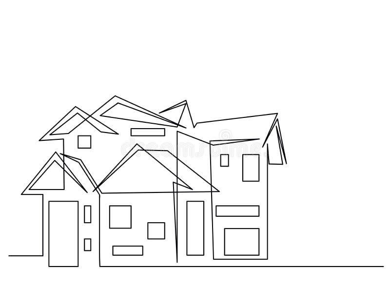 Fortlöpande linje teckning av huset, begrepp för bostads- byggande, logo, symbol, konstruktion, enkel vektorillustration royaltyfri illustrationer