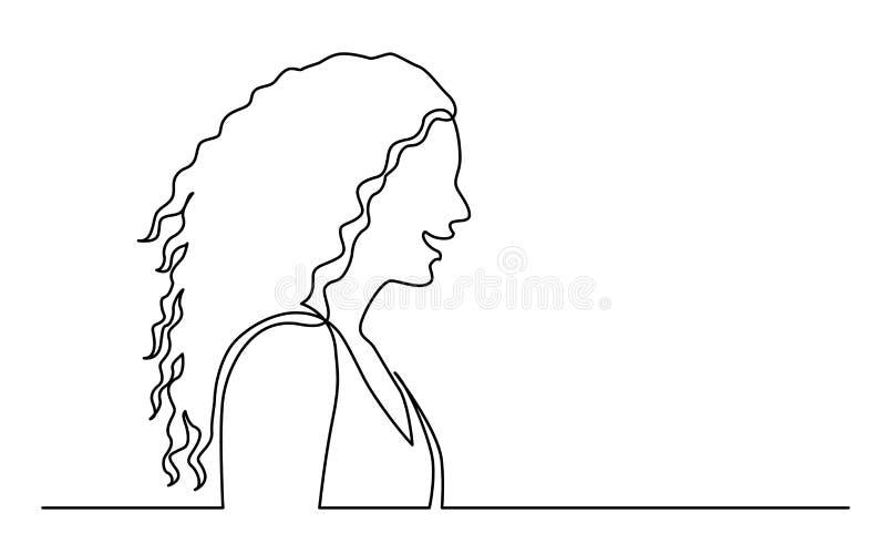 Fortlöpande linje teckning av isolerat på den vita bakgrundsprofilståenden av kvinnan med långt lockigt hår vektor illustrationer