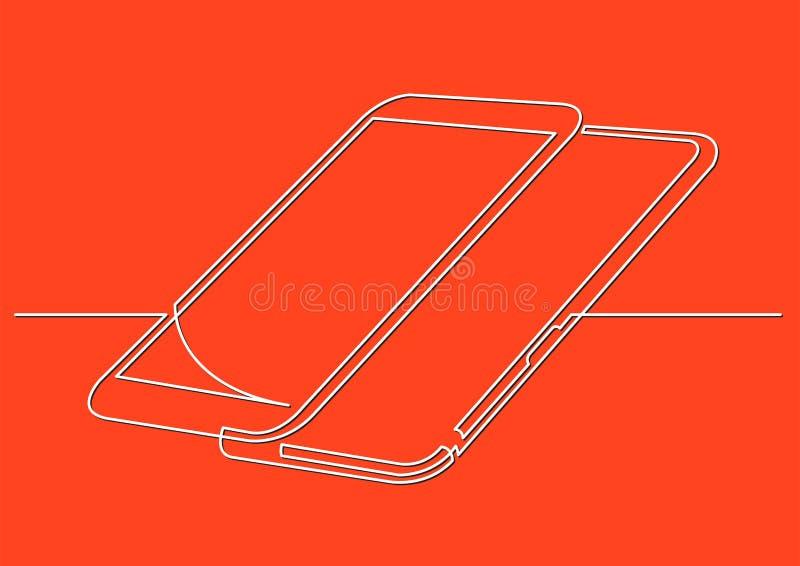 Fortlöpande linje teckning av isolerat vektorobjekt - två moderna mobiltelefoner stock illustrationer