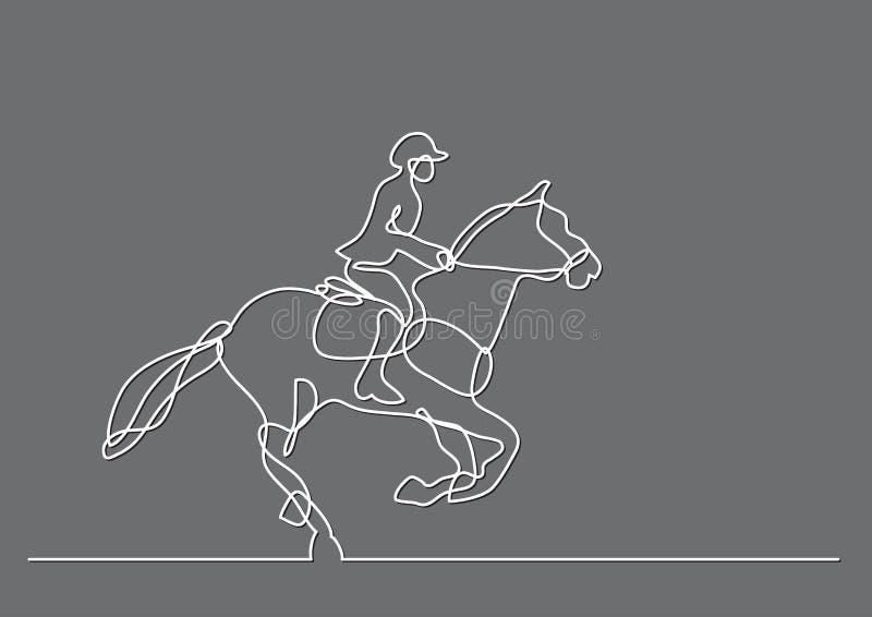 Fortlöpande linje teckning av jockeyridninghästen royaltyfri illustrationer
