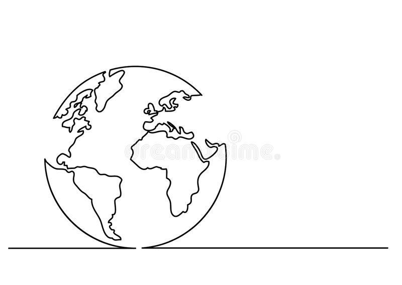 Fortlöpande linje teckning av jordklotet stock illustrationer