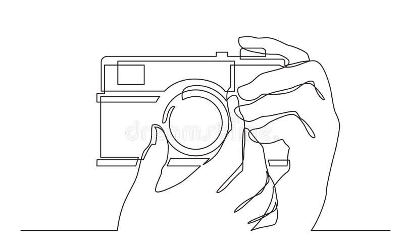 Fortlöpande linje teckning av kameran för handinnehavfoto som gör bilder royaltyfri illustrationer