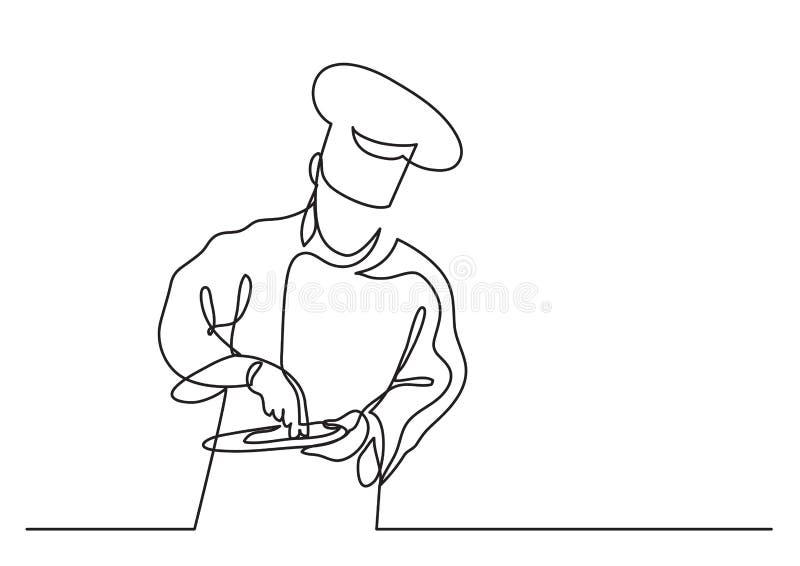 Fortlöpande linje teckning av kocken som lagar mat gourmet- mål vektor illustrationer