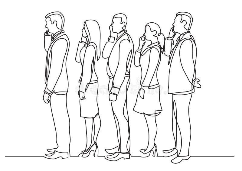 Fortlöpande linje teckning av kontorsarbetare som står i linjen som gör påringningar vektor illustrationer