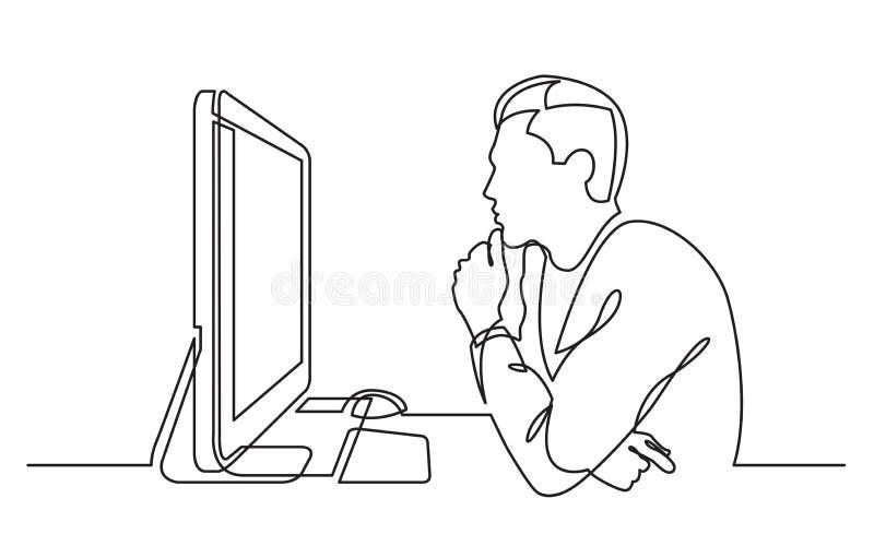 Fortlöpande linje teckning av kontorsarbetaren som koncentreras bak datoren royaltyfri illustrationer
