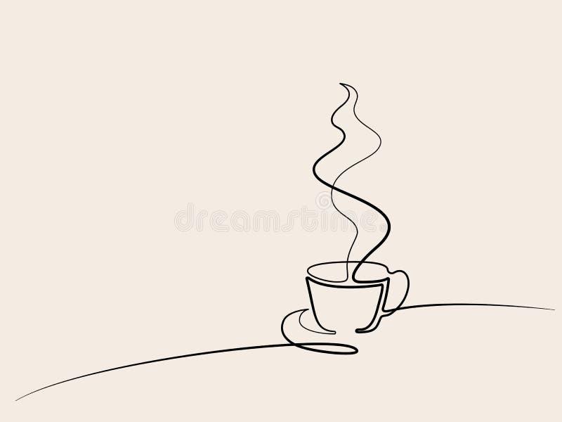 Fortlöpande linje teckning av koppen kaffe stock illustrationer