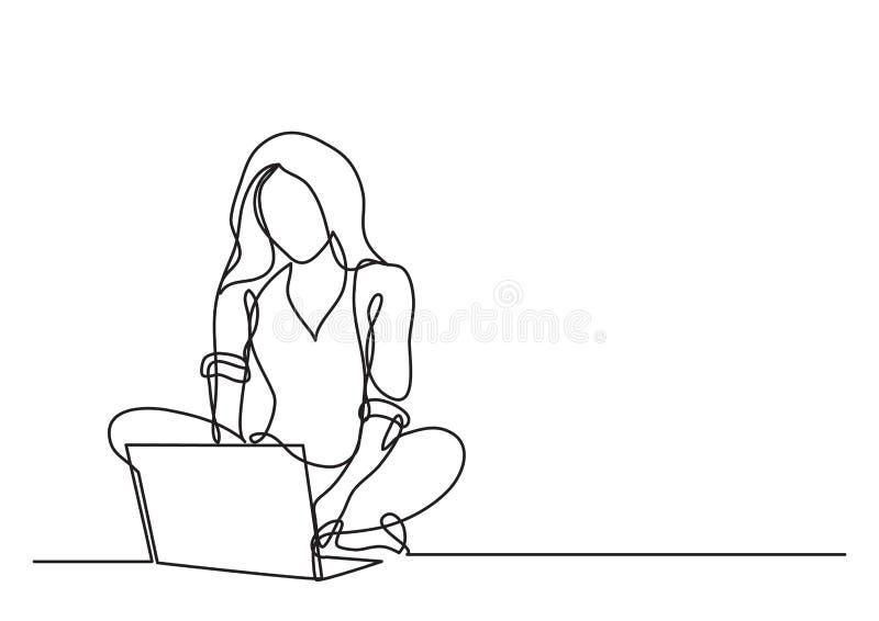 Fortlöpande linje teckning av kvinnan med bärbara datorn royaltyfri illustrationer