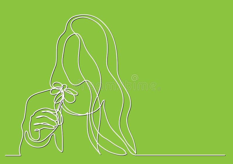 Fortlöpande linje teckning av kvinnan med blomman vektor illustrationer