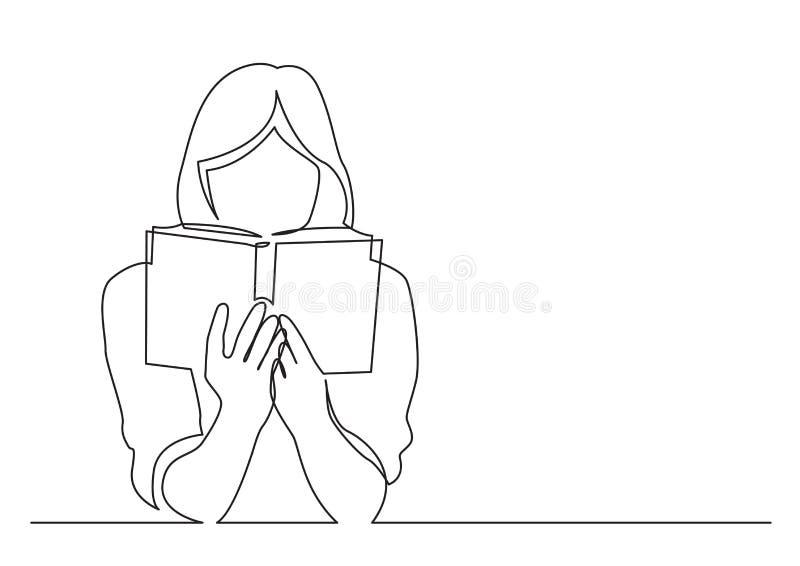 Fortlöpande linje teckning av kvinnan som fokuseras på att läsa den intressera boken stock illustrationer