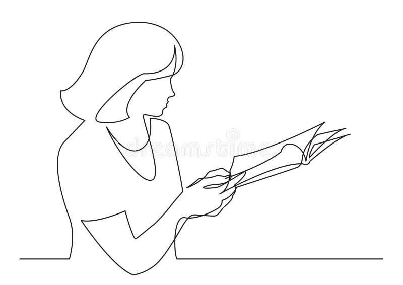 Fortlöpande linje teckning av kvinnan som läser den utskrivavna tidskriften stock illustrationer