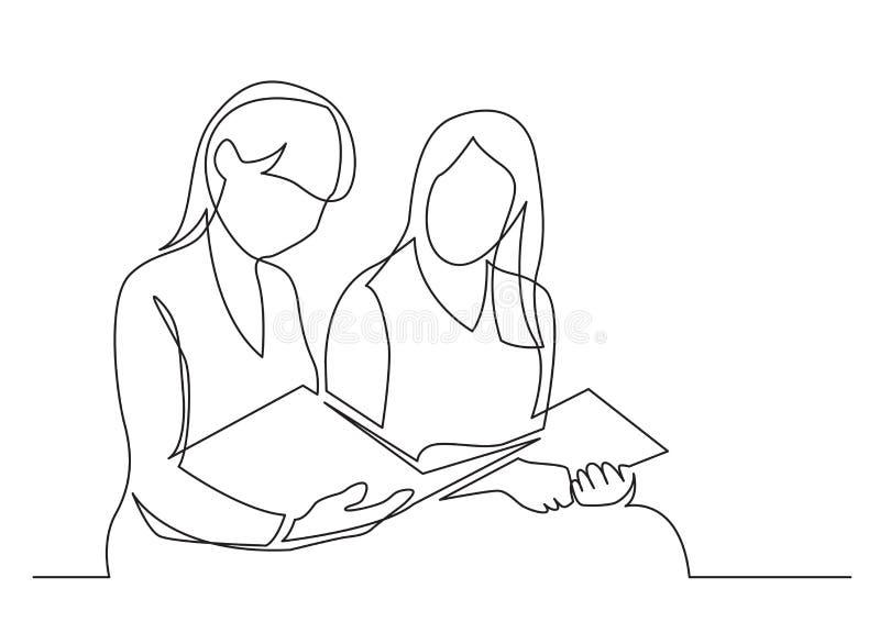 Fortlöpande linje teckning av läseboken för två unga kvinnor vektor illustrationer