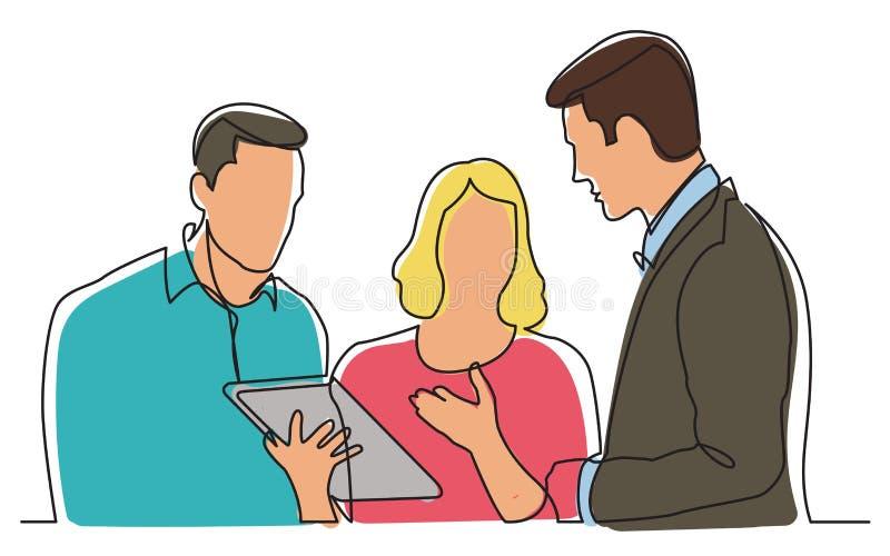 Fortlöpande linje teckning av laget som diskuterar arbetsuppgift royaltyfri illustrationer