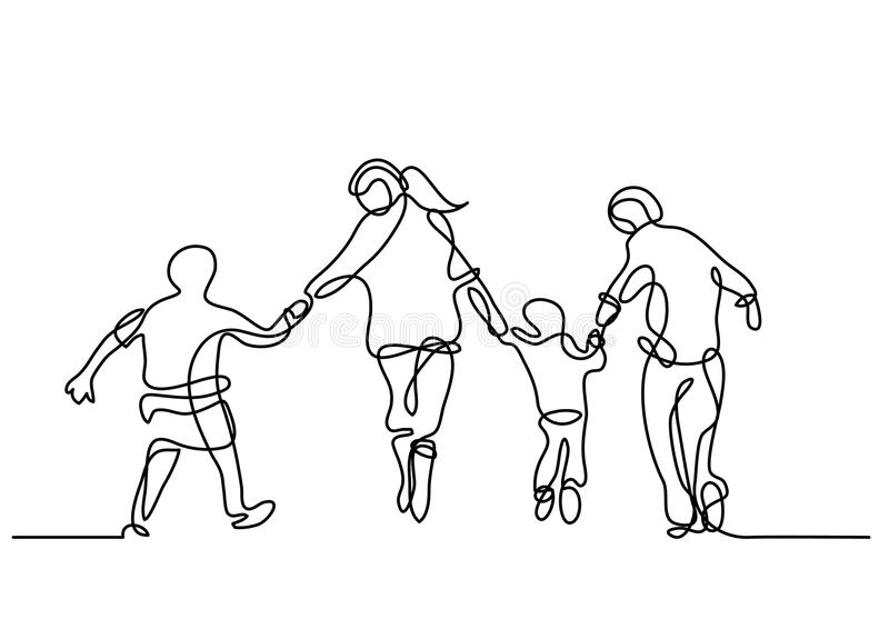 Fortlöpande linje teckning av lycklig familjspring stock illustrationer