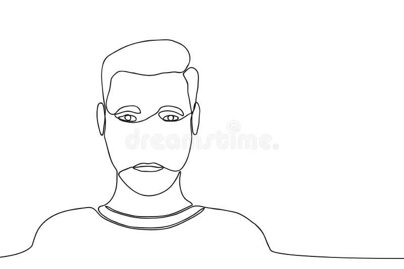 Fortlöpande linje teckning av mannen Manlig en linje teckning vektor stock illustrationer