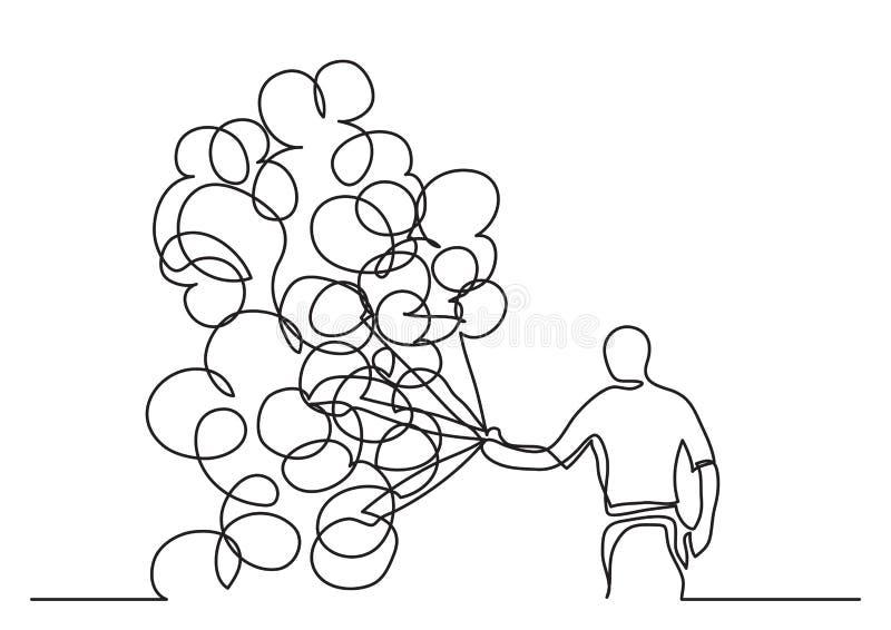 Fortlöpande linje teckning av mannen med ballonger royaltyfri illustrationer