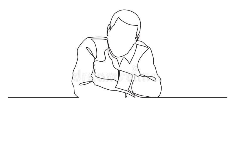 Fortlöpande linje teckning av mannen med den tomma banervisningtummen upp stock illustrationer