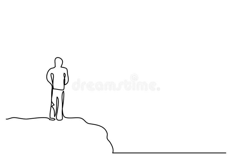 Fortlöpande linje teckning av mannen på klippan royaltyfri illustrationer