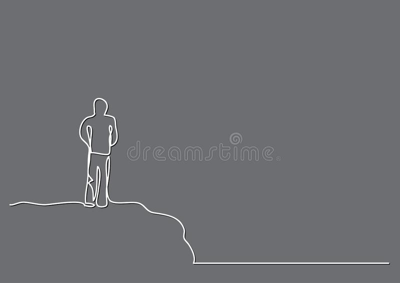 Fortlöpande linje teckning av mannen på klippan vektor illustrationer