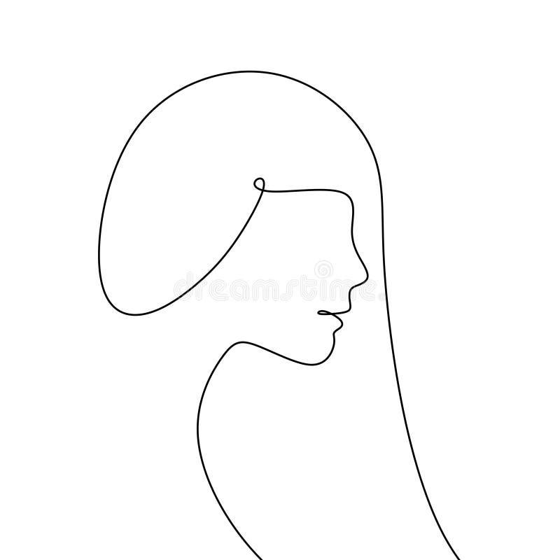 fortlöpande linje teckning av modellen med hans senaste hår royaltyfri illustrationer