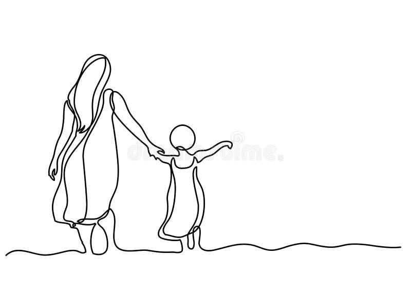 Fortlöpande linje teckning av modern och barnet i havet stock illustrationer
