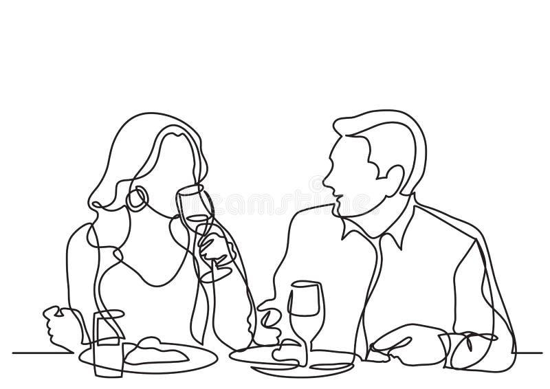Fortlöpande linje teckning av par som äter middag i restaurang stock illustrationer