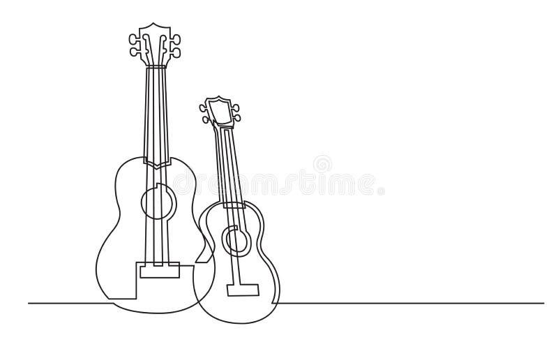 Fortlöpande linje teckning av par av ukulelegitarrer vektor illustrationer