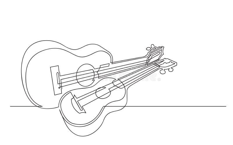 Fortlöpande linje teckning av par av ukulelen vektor illustrationer