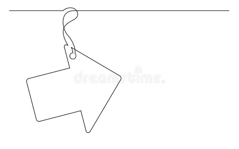 Fortlöpande linje teckning av piletiketten stock illustrationer