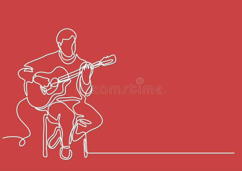 Fortlöpande linje teckning av sammanträdegitarristen som spelar gitarren royaltyfri illustrationer