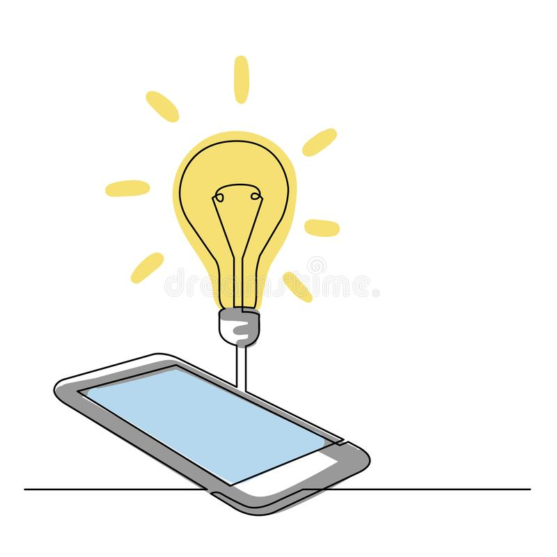 Fortlöpande linje teckning av smartphonen med idé vektor illustrationer