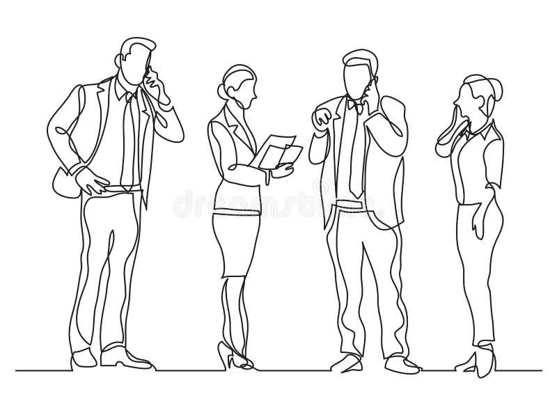 Fortlöpande linje teckning av stående affärspersoner som gör påringningar stock illustrationer