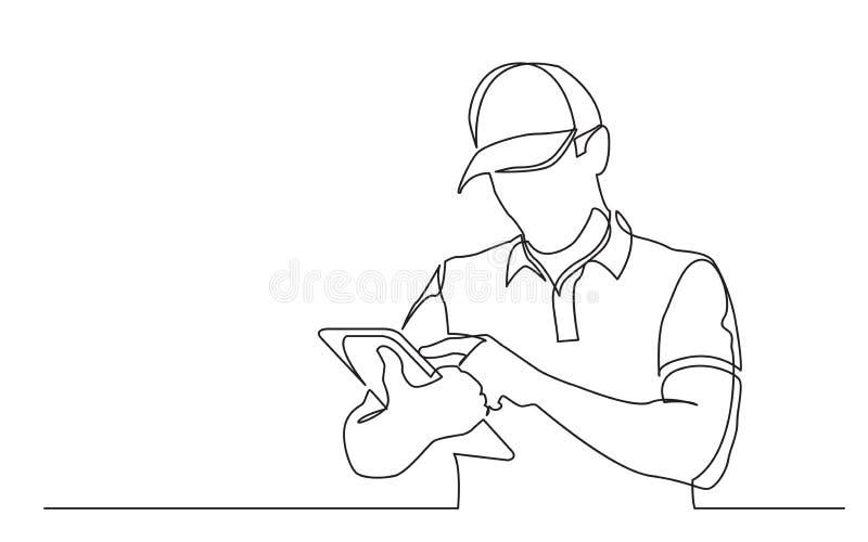 Fortlöpande linje teckning av stående fyllande beställning för leveransgrabb på minnestavlan stock illustrationer