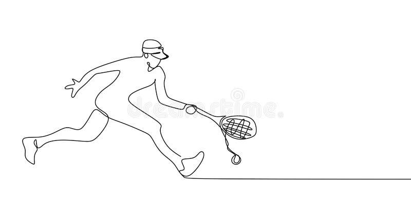 fortlöpande linje teckning av tennissportar vektor illustrationer