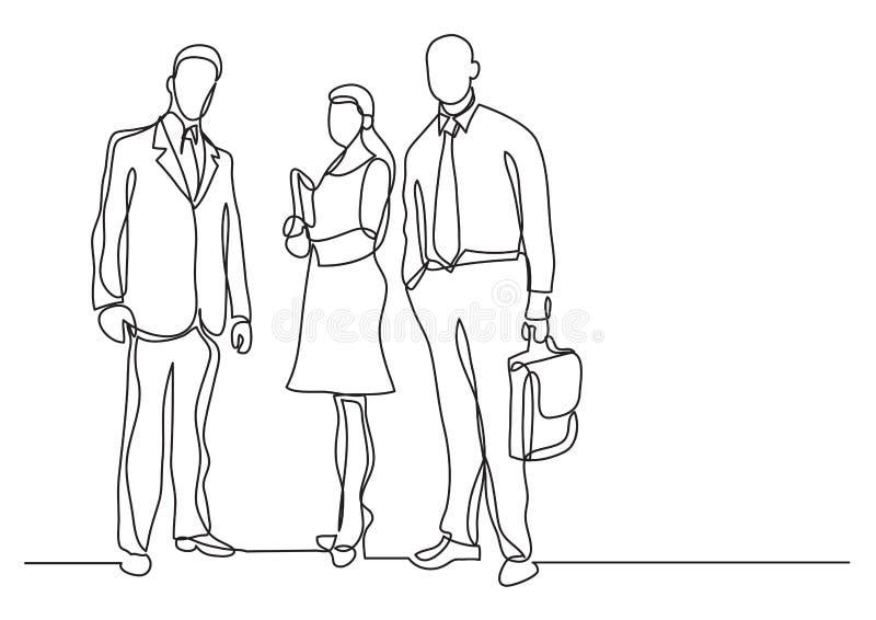 Fortlöpande linje teckning av tre affärsprofessionell som står säkra royaltyfri illustrationer