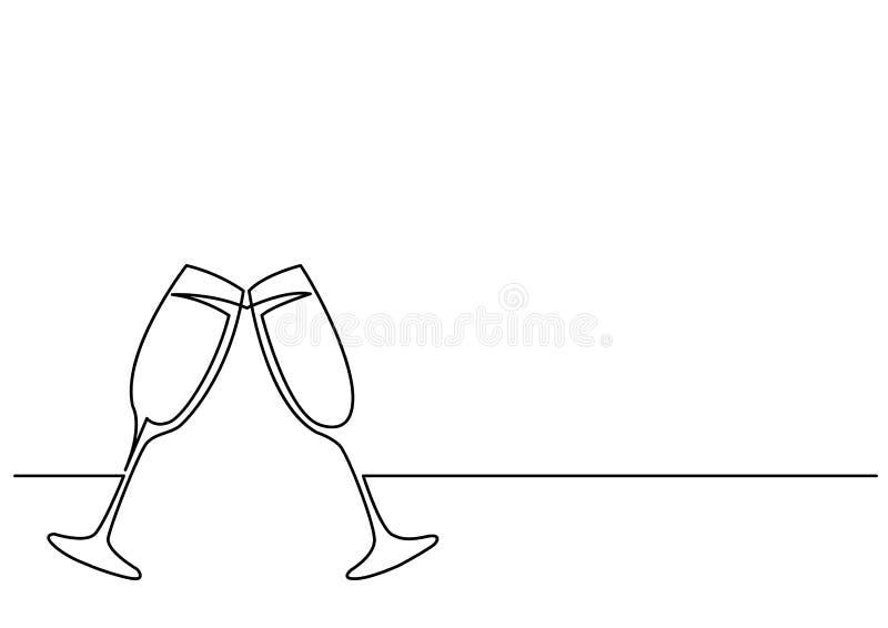Fortlöpande linje teckning av två exponeringsglas av vin stock illustrationer