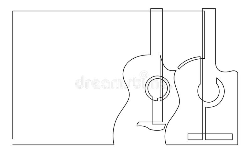 Fortlöpande linje teckning av två klassiska akustiska gitarrer royaltyfri illustrationer
