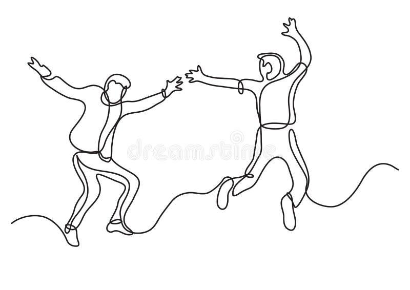 Fortlöpande linje teckning av två lyckliga tonåringar som hoppar och har gyckel royaltyfri illustrationer