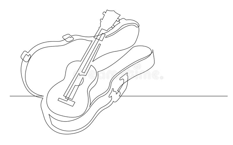 Fortlöpande linje teckning av ukulelet i hårt fall royaltyfri illustrationer