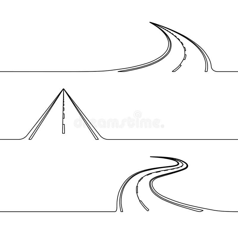 Fortlöpande linje teckning av vägen vektor illustrationer