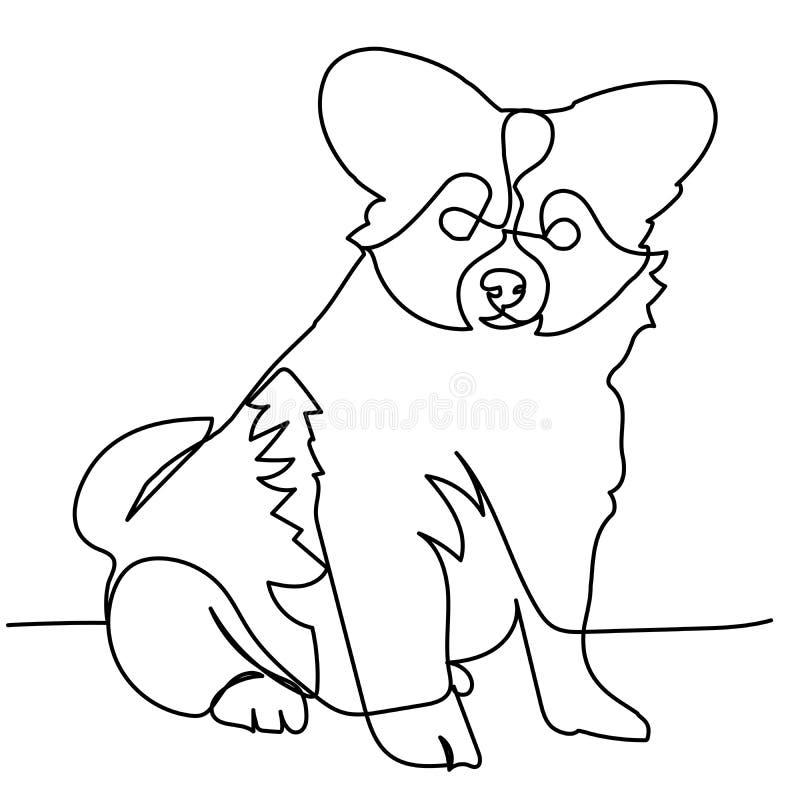Fortlöpande linje teckning av valpen stock illustrationer