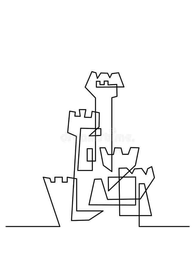 Fortlöpande linje teckning Modern byggnadskonstruktion stock illustrationer
