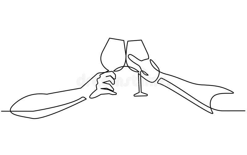 Fortlöpande linje teckning två exponeringsglas av vin i händer som rostar att skapa pladask på vit bakgrund också vektor för core stock illustrationer