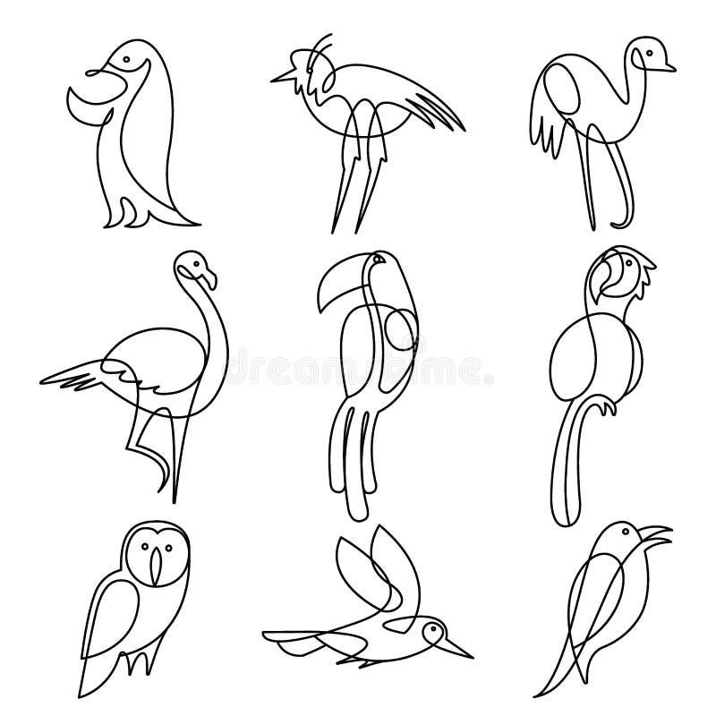 Fortlöpande linje teckningsbeståndsdeluppsättning för fåglar royaltyfri illustrationer