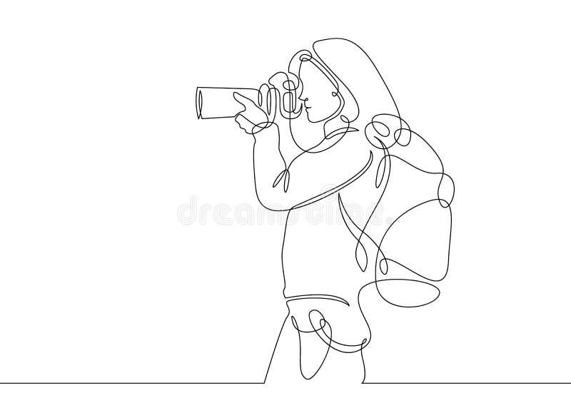 Fortlöpande linje teckningsfotograf vektor illustrationer