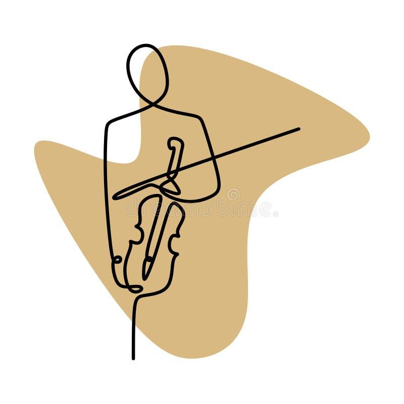 Fortlöpande linje teckningsperson som spelar handen för fiolminimalist som en dras på vit bakgrund royaltyfri illustrationer