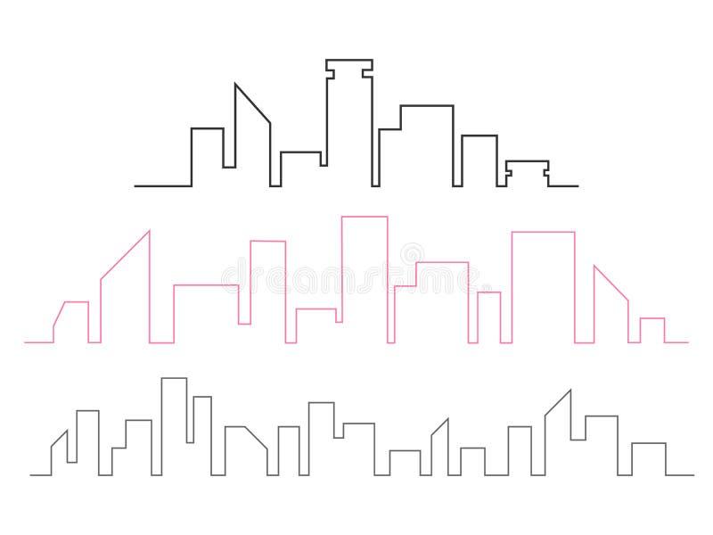Fortlöpande linje teckningsvektorillustration för stadshorisont L royaltyfri illustrationer